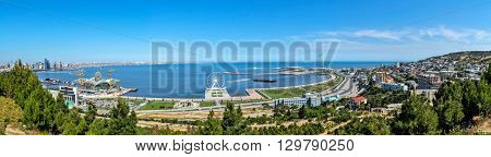 View the Baku bay with upland park .Panoramny picture. Observation deck