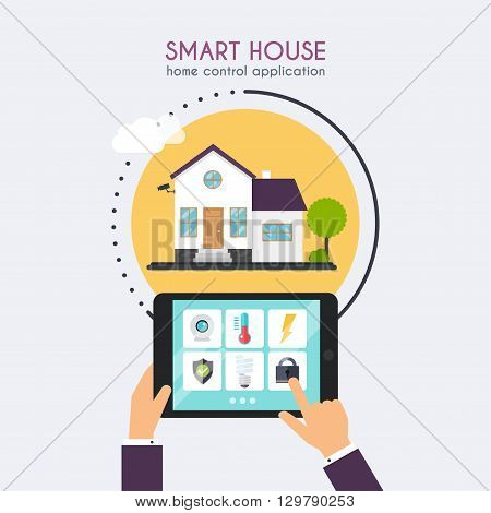 Smart House. Home Control Application Concept. Hand Holding Tablet With Home Control Application. Te