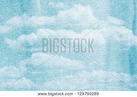 Blue painted watercolor clouds and sky. Nature backgroud.