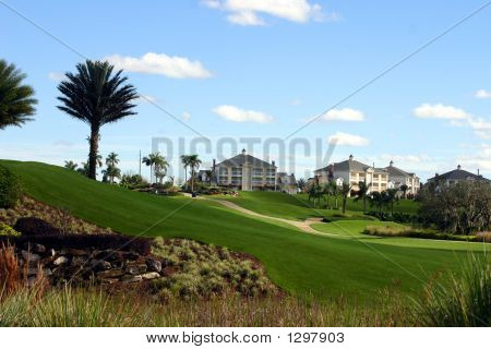 Landscaping At Golf Resort With Mansions On The Hill