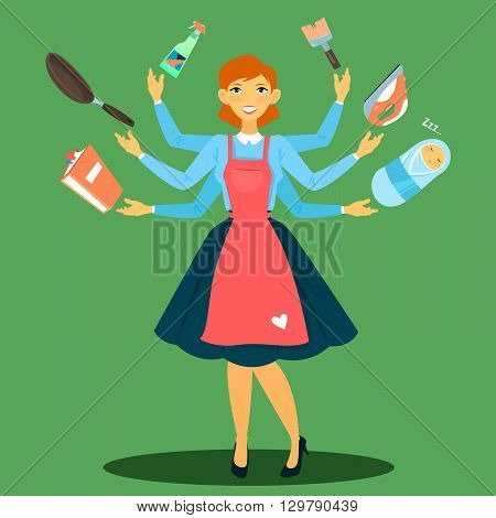 Successful Housewife. Multitasking Woman, Perfect Wife Vector illustration