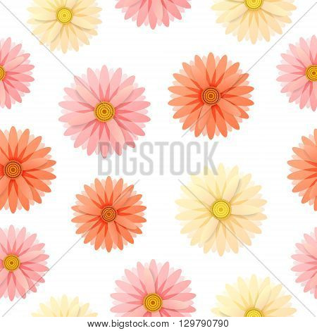 Seamless pattern with pink, yellow and red flowers on white background