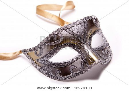 Silver party mask.