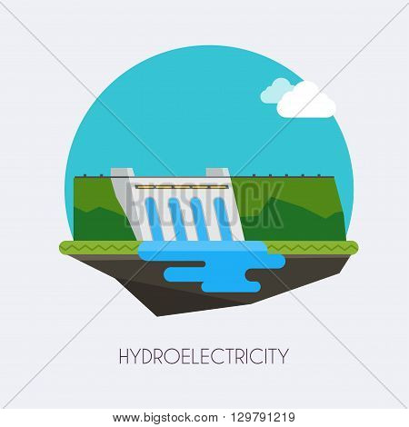 Hydroelectric Power Station.  Landscape And Industrial Factory Buildings Concept. Vector Flat Infogr