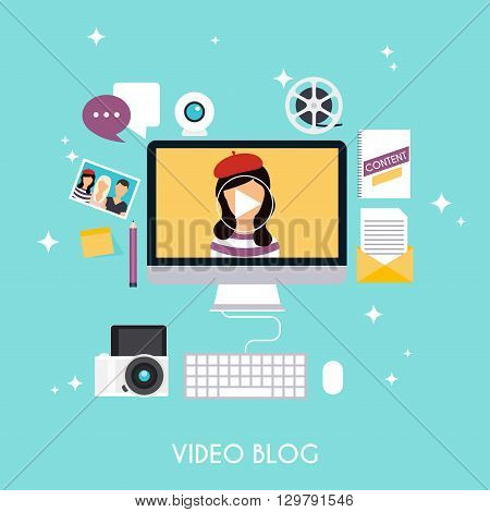Video blogging concept. Template blogging infographics. Blog concept design. Flat design style modern vector illustration concept.