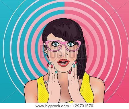 Wow gossip girl in pop art style in the two-color background and pink spiral. Young woman is announcing, telling a secret, shouting or yelling.Comic woman. Gossip girl, Hey, Wow