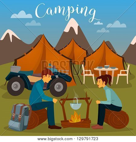 Summer Camp. Man and Woman sitting by Fireplace. Vector illustration