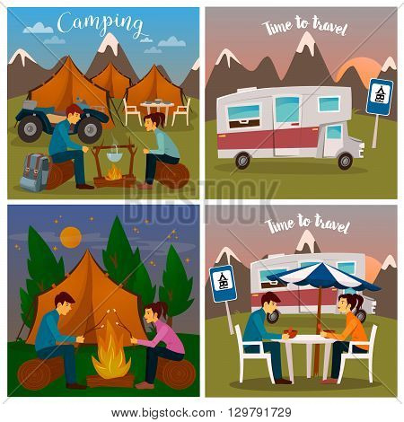 Summer Camp. Man and Woman sitting by Fireplace Vector illustration