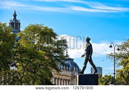 Paris France - August 29 2011: Clemenceau square the De Gaulle monument.