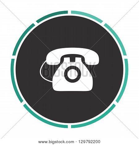 old telephone Simple flat white vector pictogram on black circle. Illustration icon
