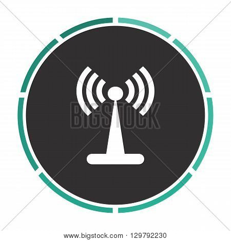 Antenna Simple flat white vector pictogram on black circle. Illustration icon