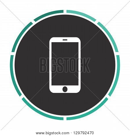 mini tablet Simple flat white vector pictogram on black circle. Illustration icon