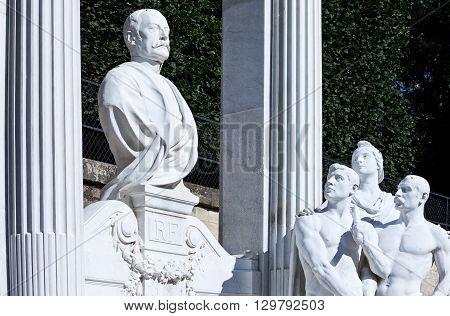 Paris France - August 29 2011: The Waldeck memorial in the Tuileries garden