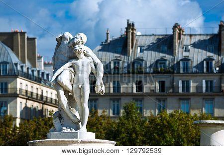 Paris France - August 29 2011: The Spartacus statue in the Tuileries garden