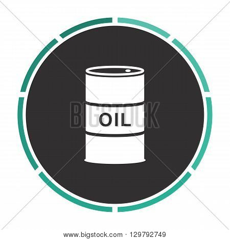 Oil barrels Simple flat white vector pictogram on black circle. Illustration icon