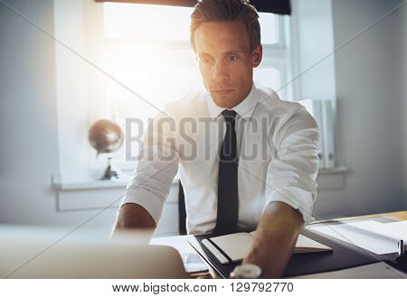 Business Man Working On Laptop