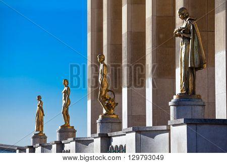 France, Paris, the statue of the Trocadéro Esplanade