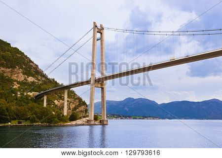 Bridge in fjord Lysefjord - Norway - nature and travel background