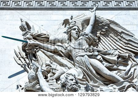 Paris France - August 30 2011: Arc de Triomphe of the Etoile the Marseillaise sculpture.