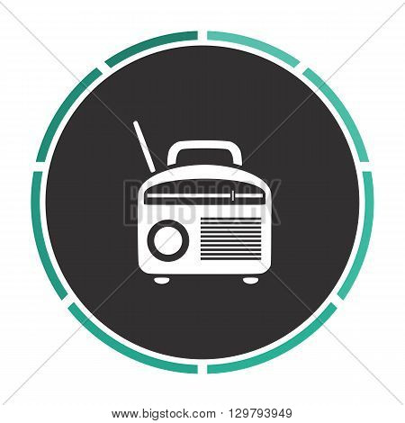 Radio Simple flat white vector pictogram on black circle. Illustration icon