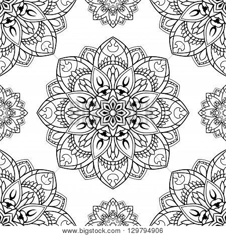 Seamless vector background. The pattern with contour floral mandalas. Oriental floral ornament.