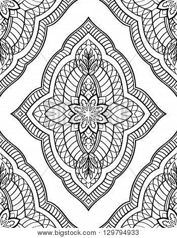 Oriental abstract ornament. Templates for carpets wallpaper textiles and any surface. Seamless vector pattern of black contours on a white background.