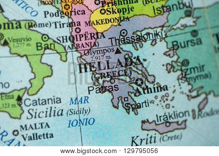 Map view of Greece on a geographical globe.