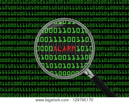 Alarm found in Binary Code with Magnifying Glass - 3D Illustration