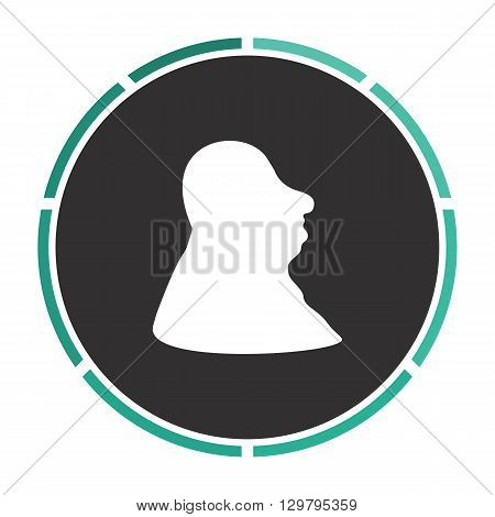 facial profile Simple flat white vector pictogram on black circle. Illustration icon