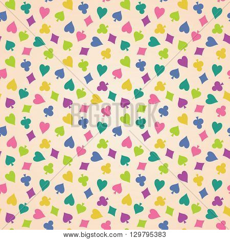 Vintage seamless vector background with colorful suits of playing cards. Old beige cloth with a pattern of club diamond spade heart.