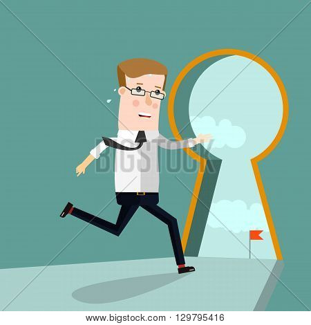 Keyhole Businessman entering keyhole. Business concept vector illustration.