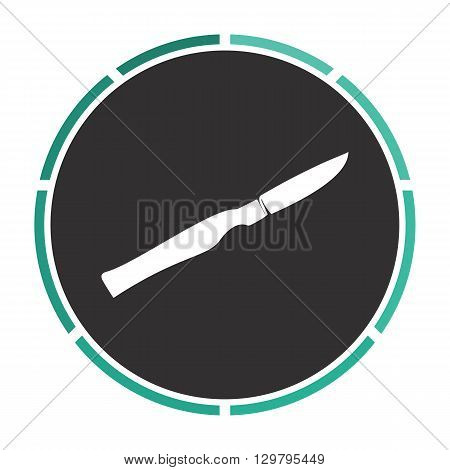 scalpel Simple flat white vector pictogram on black circle. Illustration icon