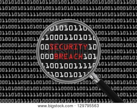 Security Breach found in Binary Code with Magnifying Glass - 3D Illustration