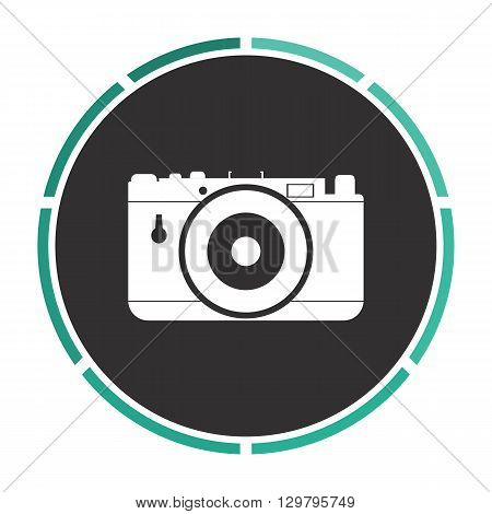 photo camera Simple flat white vector pictogram on black circle. Illustration icon