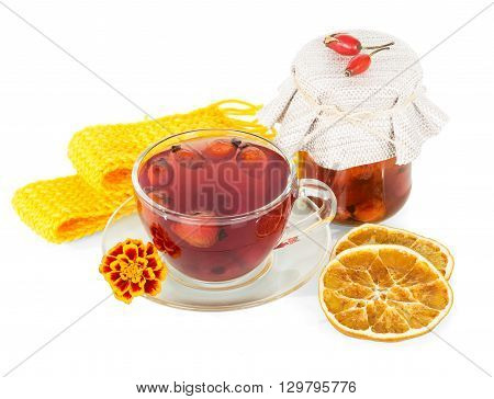 The drink of rose hips and lemon fruit isolated on white background.