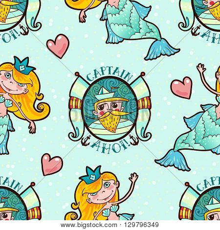 Sweetheart mermaid and Seaman seamless pattern. Kawaii girl sea Naiad Maritime princess. Old school style. Endless For kid prints on T-shirts, bags, cards, old school tattoos. Vector illustration