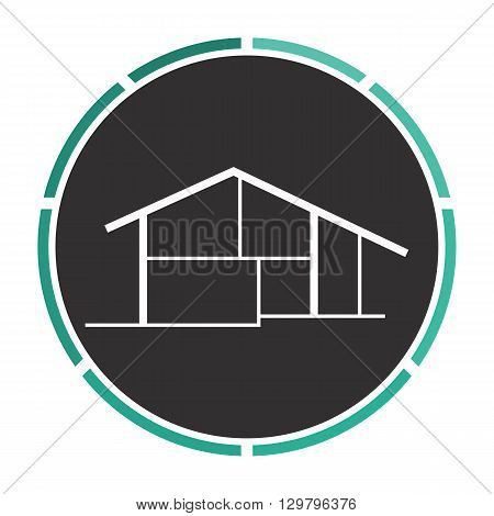cottage Simple flat white vector pictogram on black circle. Illustration icon