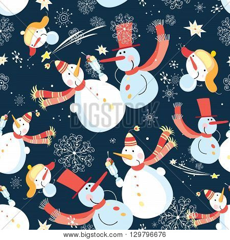 Seamless graphic pattern of Christmas snowman on a blue background with snowflakes