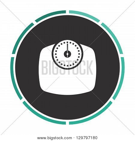 Bathroom scale Simple flat white vector pictogram on black circle. Illustration icon