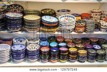 Turkish Ceramics in Grand Bazaar Istanbul City Turkey