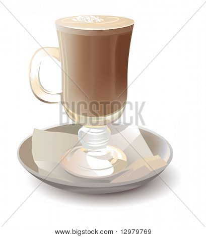 cappuchino in glass vector