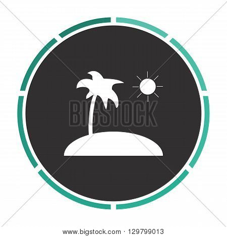 isle Simple flat white vector pictogram on black circle. Illustration icon