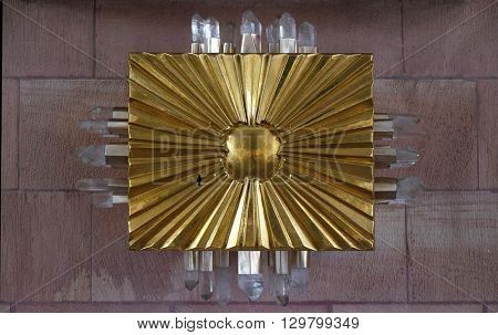 KLEINOSTHEIM, GERMANY - JUNE 08: Tabernacle on the main altar in the Saint Lawrence church in Kleinostheim, Germany on June 08, 2015.