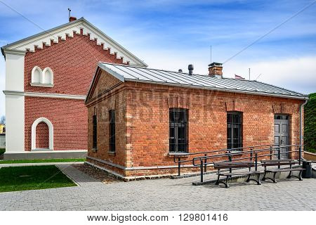 Restored red brick houses in Daugavpils, Latvia