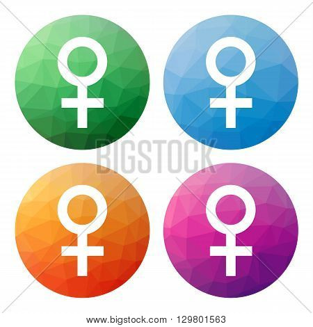Set  Of 4 Isolated Modern Low Polygonal Buttons - Icons - For Female, Woman, Lady, Girl