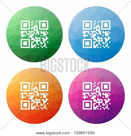 Collection of 4 isolated modern low polygonal buttons - icons - for qrcode with template meaning gr code gr button gr icon polygonal button mosaic button gr mosaic scan button low polygonal