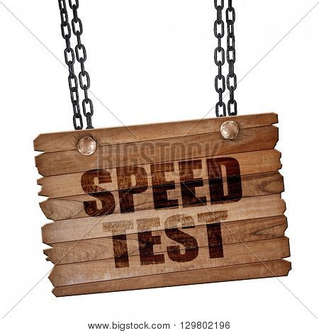 speed test, 3D rendering, wooden board on a grunge chain