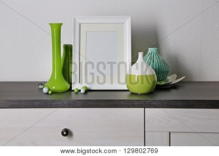 Home decor on locker on wall background