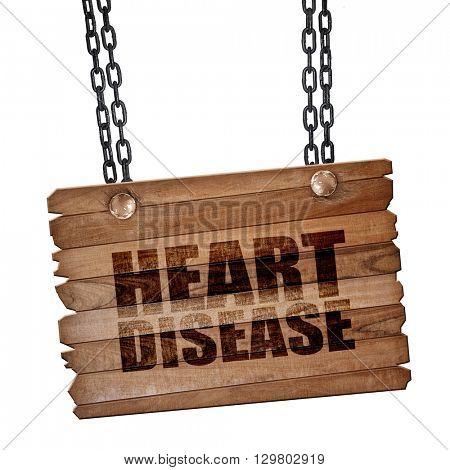 heart disease, 3D rendering, wooden board on a grunge chain