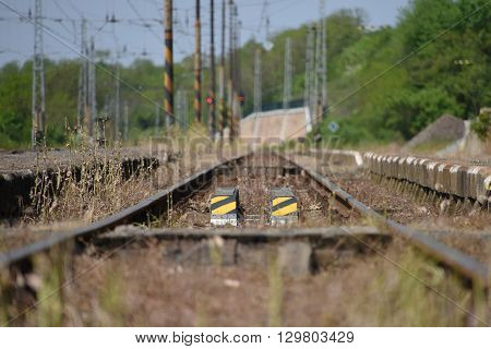 Detail of track in Libechov station in central Bohemia in spring time